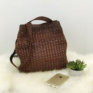 NINE WEST Vintage Woven Leather shoulder bag Brown